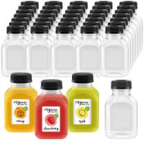 8 oz. Plastic Clear Empty Bottle with Black Cap for Smoothie Pack of 20