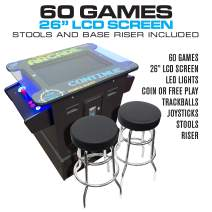 "Creative Arcades Full-Size Commercial Grade Cocktail Arcade Machine | Trackball | 60 Classic Games | 2 Sanwa Joysticks | 2 Stools | 26"" Screen 