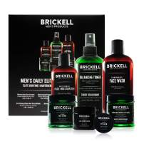Brickell Men's Daily Elite Face Care Routine I, Toner, Gel Facial Wash, Face Scrub, Anti-Aging Night Cream, Eye Cream, Charcoal Mask and Moisturizer, Natural and Organic, Unscented