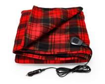 Camco Polar Fleece Heated Blanket for Cars, Trucks, and RVs - Power Cord Plugs into 12V Vehicle Power Outlet   Great for Cold Weather, Traveling, or Emergencies - Plaid Red  (42804)