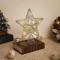 Lewondr Star Tree Topper, Battery Powered Decorative Light Christmas Concepts Springy Star with LED Lights Beautiful Star Lighting Holiday Decoration Xmas Tradition Tree Ornament Home Décor - Silver