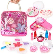 Liberty Imports Petite Girls Cosmetics Play Set - Washable and Non Toxic - Princess Real Makeup Kit with Case - Ideal Gift for Kids (Purse)