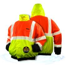 KwikSafety (Charlotte, NC) DISPATCHER | Class 3 Tri-Color Safety Bomber Jacket | High Visibility ANSI OSHA PPE | Foldable Hood Reflective Winter Water Resistant Construction Workwear Men| X-Large