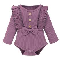 Renotemy Newborn Infant Baby Girl Rompers Cotton Linen Solid Jumpsuits Jumper Short Sleeve Onesie Infant Baby Clothes Girl