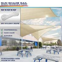 10' x 10' x 10' Sun Shade Sail UV Block Fabric Canopy in Beige Sand Triangle for Patio Garden Patio Customized (3 Year Warranty)