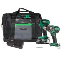 Metabo HPT 18V Cordless Combo Kit, Hammer Drill and Impact Driver, Brushless Motor, 1 - Compact 3.0Ah Lithium Ion Battery, LED Light, Lifetime Tool Warranty (KC18DBFL2S)