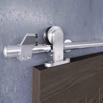 "EaseLife 5 FT Modern Stainless Steel Sliding Barn Door Hardware Track Kit,Top Mount,Anti-Rust,Slide Smoothly Quietly,Easy Install,Fit 26""~30"" Wide Door (5FT Track Single Door Kit)"