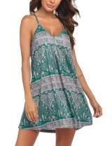 Ekouaer Nightgown Chemise Racerback Sleepshirt Sleeveless Short Nightdress Loose Sleepwear Soft Loungewear for Women