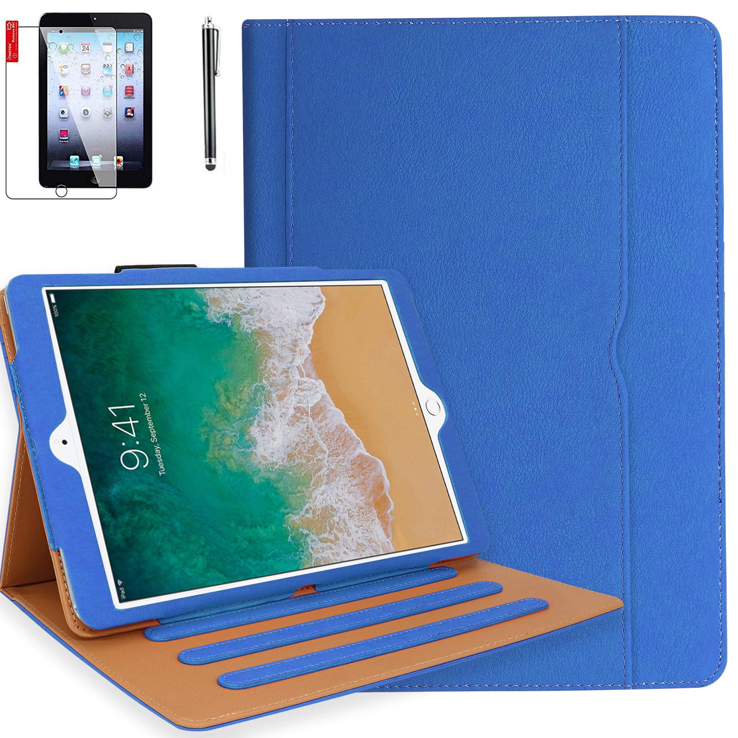 iPad 6th Generation Cases with Bonus Screen Protector and Stylus - iPad 9.7 inch 2018 2017 Air 1 Air 2 Case Cover - Hand Strap, Auto Sleep Wake, Multi-Angle Stand - A1822 A1823 A1474(Sky Blue)