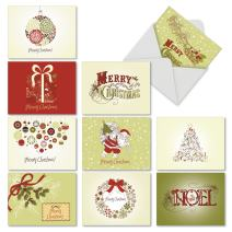 10 Assorted 'Avocado Green Christmas' Note Cards with Envelopes 4 x 5.12 inch, Blank Holiday Greeting Cards with Festive Green and Red Illustrations of Santa, Reindeer, Trees and More M6646XSB