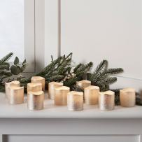 Lights4fun, Inc. Set of 12 Champagne Gold Wax Battery Operated Flameless LED Votive Tealight Candles