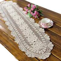 Ustide Rustic Floral Crochet Table Runners Beige Cotton Table Runner Lace Tablecloth Oval Table Runners for Weddings,11.8inchesX55inches