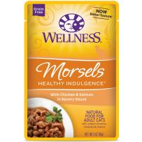 Wellness Healthy Indulgence Natural Grain Free Wet Cat Food Pouches Morsels Chicken & Salmon
