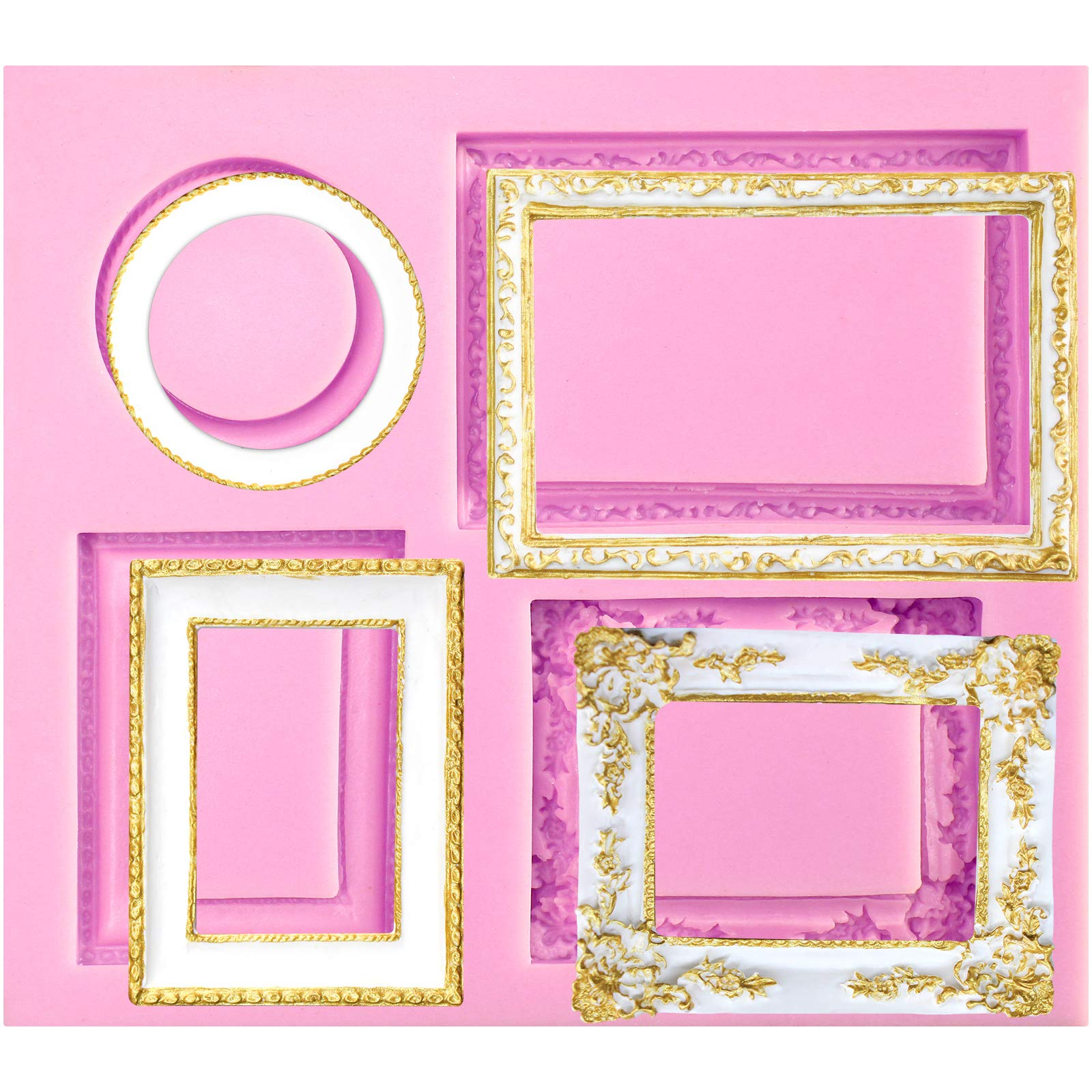 FUNSHOWCASE Mirror Frame Candy Silicone Mold, with Heart Shape for Sugarcraft, Cake Decoration, Cupcake Topper, Chocolate, Fondant, Polymer Clay, Epoxy Resin, Crafting Projects