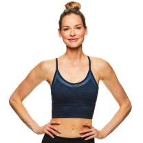 Gaiam Women's Strappy Wireless Bralette - Medium Impact Longline Racerback Workout & Yoga Sports Bra