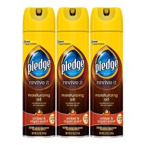 Pledge Moisturizing Oil Spray for Furniture, Conditioner, Restorer and Protector, Works on Glass Leather, Granite, Wood, Stainless Steel, Amber & Argan, 9.7 oz - Pack of 3