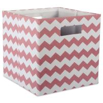 """DII Hard Sided Collapsible Fabric Storage Container for Nursery, Offices, & Home Organization, (11x11x11"""") - Chevron Rose"""