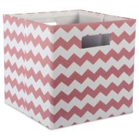 "DII Hard Sided Collapsible Fabric Storage Container for Nursery, Offices, & Home Organization, (11x11x11"") - Chevron Rose"