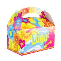 Super Z Outlet Colorful Luau Hawaii Island Tropical Treat Gift Paper Cardboard Boxes with Handles for Crafts, Candy Goodie Bags, Picnic Snacks, Birthday Party Favor, Baby Shower (12 Pack)