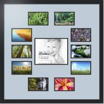 ArtToFrames Collage Photo Frame Double Mat with 1-8x10 and 10-4x6 Openings with Satin Black Frame and Baby Blue mat.