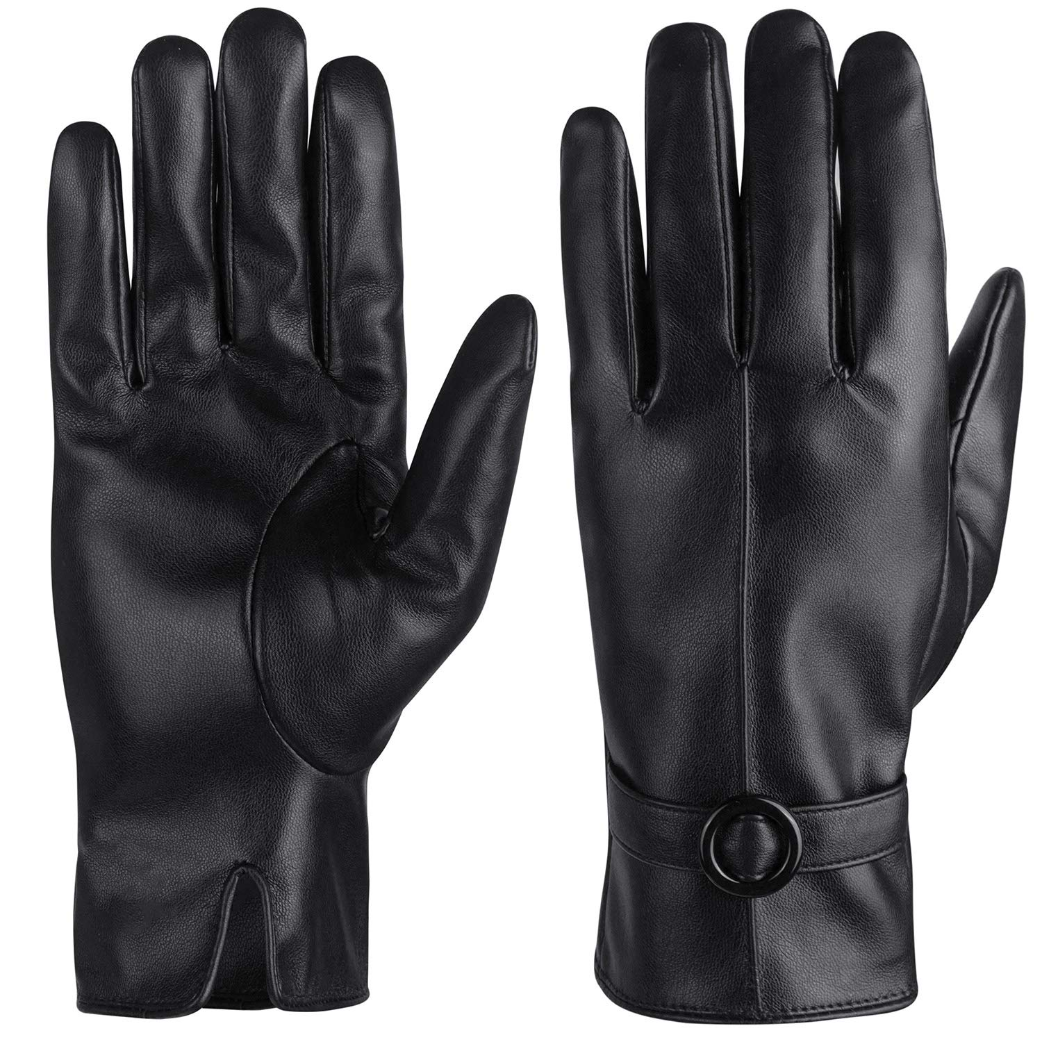 Womens Leather Gloves Winter Touchscreen Texting Driving Fleece Lined Gloves Warm Gifts