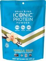 Iconic Protein Powder, Vanilla Bean, Single Serve | Sugar Free, Low Carb Protein Shake | 20g Grass Fed Whey Protein & Casein | Lactose & Gluten Free, Kosher, Non-GMO, Keto Friendly