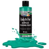 Pouring Masters Peacock Green Acrylic Ready to Pour Pouring Paint – Premium 8-Ounce Pre-Mixed Water-Based - for Canvas, Wood, Paper, Crafts, Tile, Rocks and More