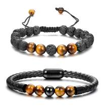 FUNRUN JEWELRY 2PCS Black Bead Leather Bracelet for Men Healing Balancing Stone Diffuser Bracelet Magnetic Clasp