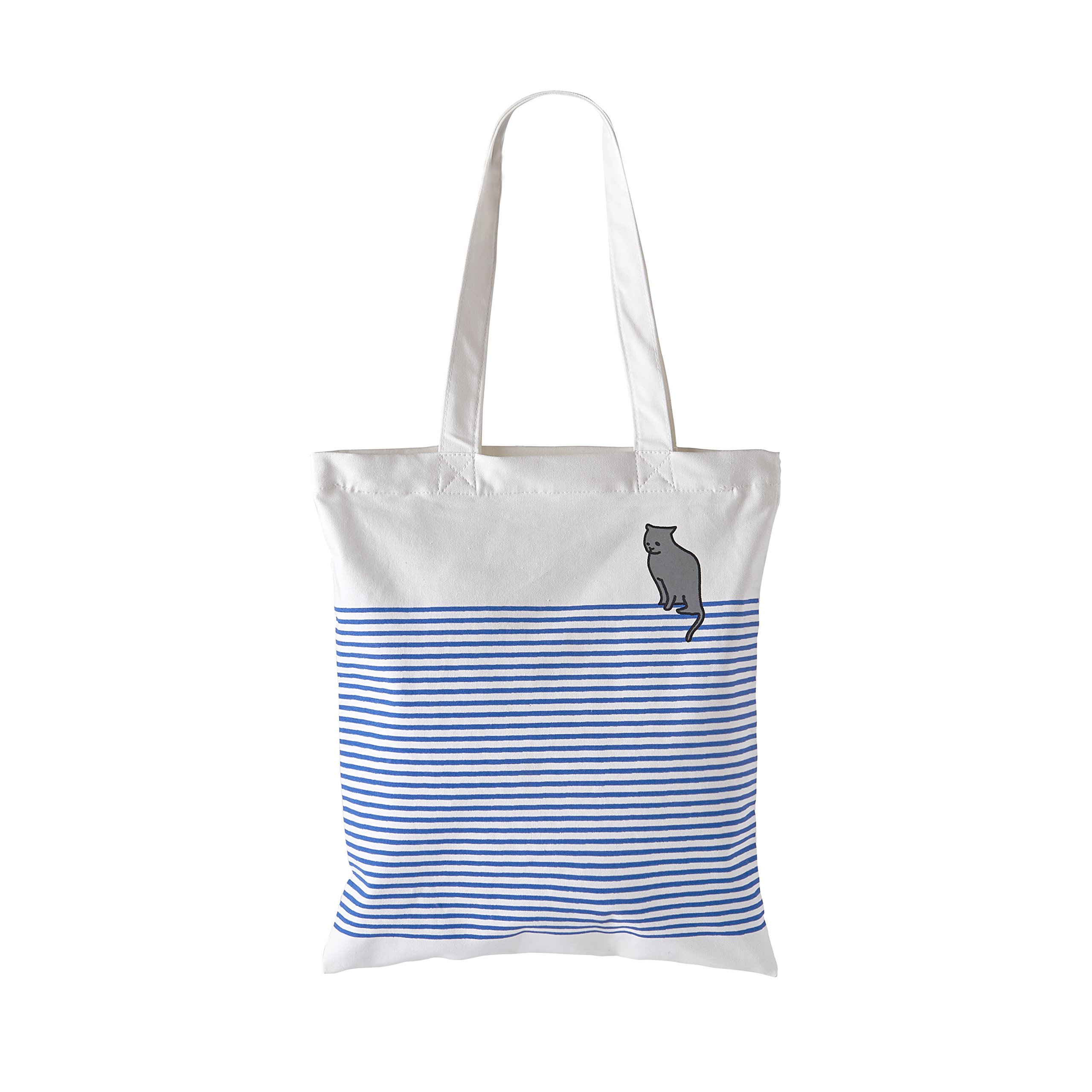 Waitworth 'Out of the Blue' Cotton Canvas Tote Bag Stylish Casual Shoulder Bag with Zipper and Pocket for Shopping Travel and School Work Blue Striped Eco-Friendly (Bluecat)