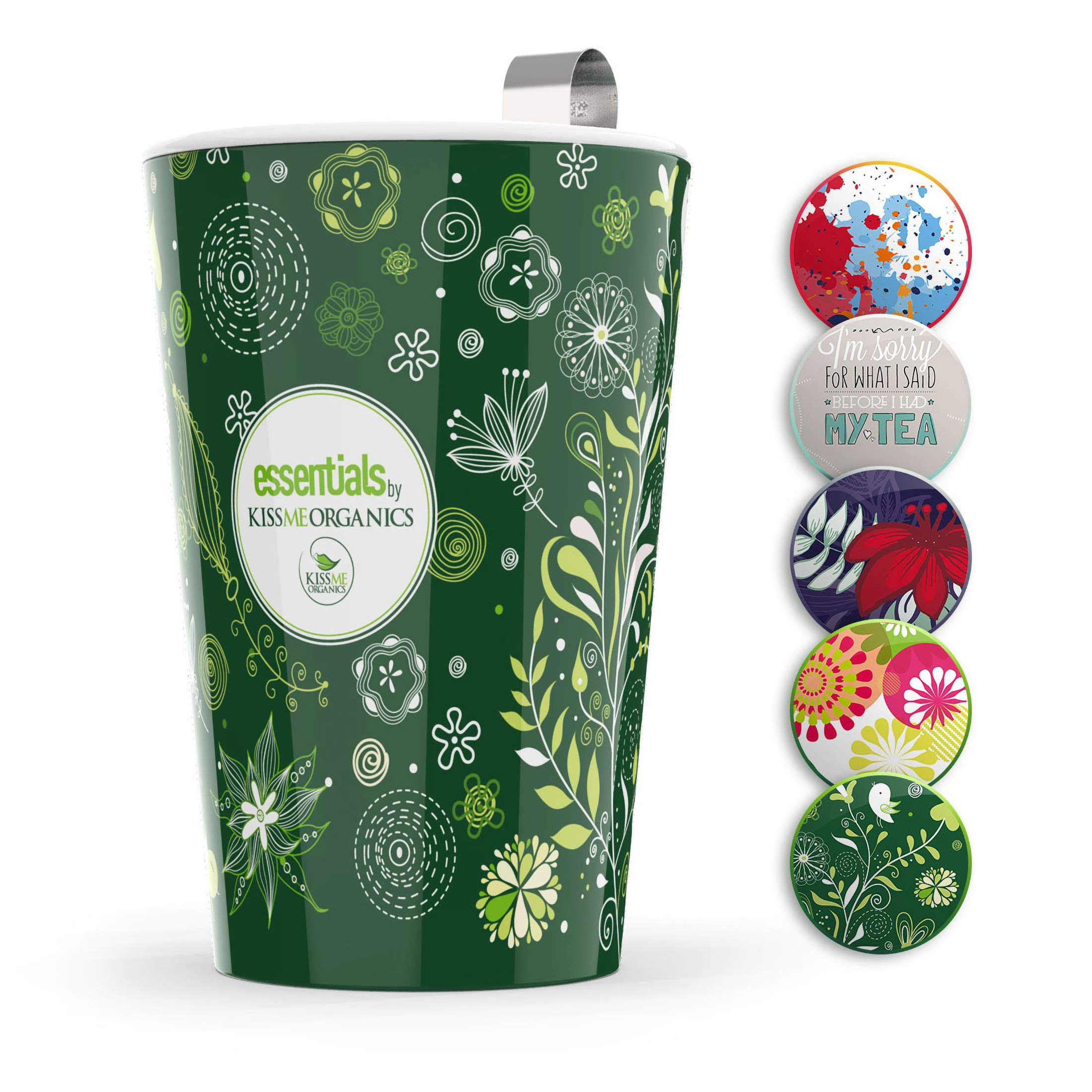 Steep & Strain Ceramic Tea Mug - Insulated Cup with Tea Infuser - Available in 8 Patterns - Comes with Free Silicone Lid