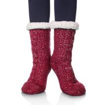 SDBING Women's Sequin Super Soft Warm Cozy Fuzzy Fleece-lined Winter Christmas gift Slipper socks