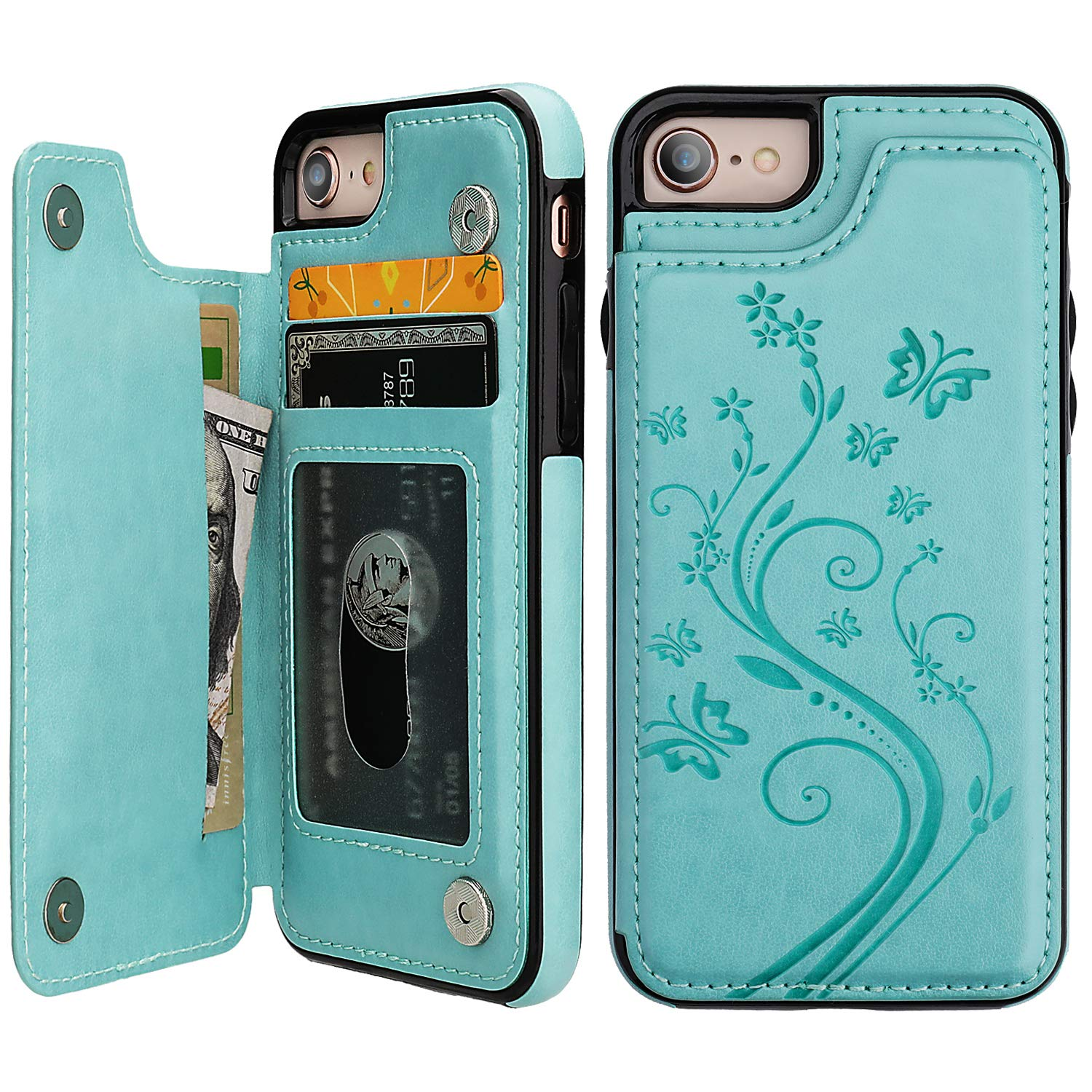 iPhone 7 iPhone 8 iPhone SE 2020 Case Wallet with Card Holder, Vaburs Embossed Butterfly Premium PU Leather Double Magnetic Buttons Flip Shockproof Protective Cover for iPhone 7/8/SE 2020 (Mint Green)