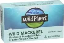 Wild Planet Skinless Boneless Mackerel Fillets in Organic Extra Virgin Olive Oil, 4.4 Ounce
