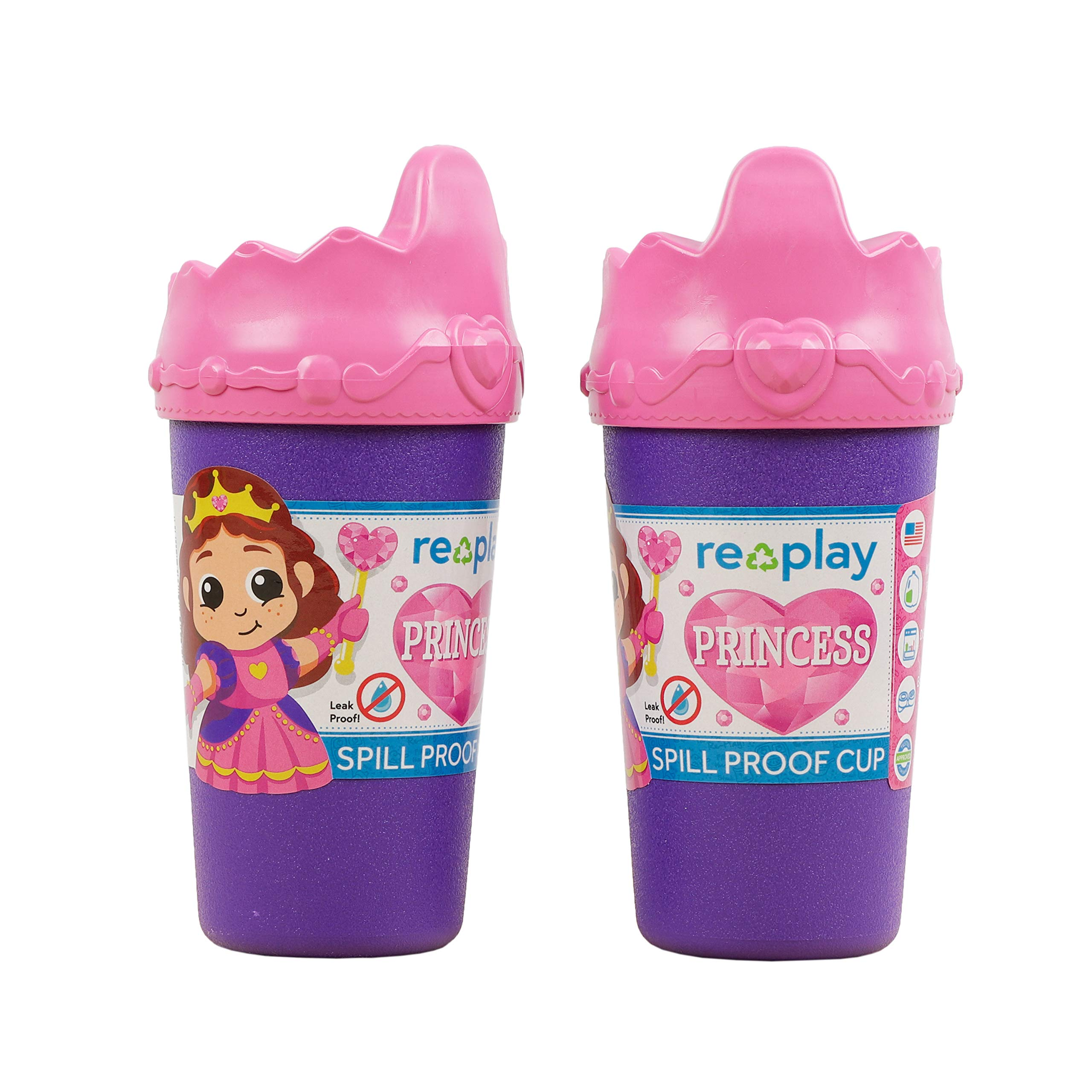Re-Play Made in USA 2pk Princess No Spill Sippy Cups | 1 Piece Silicone Easy Clean Valve | Eco Friendly Heavyweight Recycled Milk Jugs are Virtually Indestructible | Specialty Crown Lid