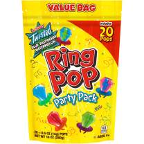 Ring Pop Individually Wrapped Bulk Lollipop Variety Party Pack – 20 Count Lollipop Suckers w/ Assorted Flavors - Fun Candy for Birthdays and Celebrations