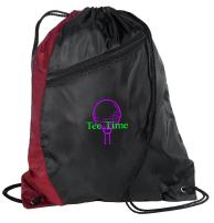 Personalized Golf Drawstring Backpack with Custom Text | Cinch Bag with Customizable Embroidered Monogram Design (Maroon/Black)