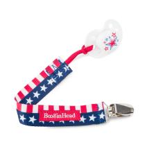 Booginhead Baby Newborn PaciGrip Pacifier Clip, Patriotic Flag Red/White/Blue