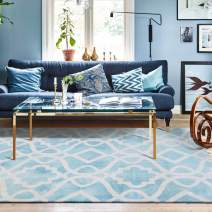 "Decomall Geometric Trellis Runner Rug Soft Plush Watercolor Tonal Light Blue Runners for Hallway Kitchen, Light Blue, 2'6"" x 9'"