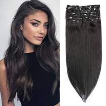 Remy Clip in Human Hair Extensions Natural Black Clip in Hair Extensions Straight Double Weft Clip in Real Extensions 8 PCS 120G Full Head for Women 16 Inch