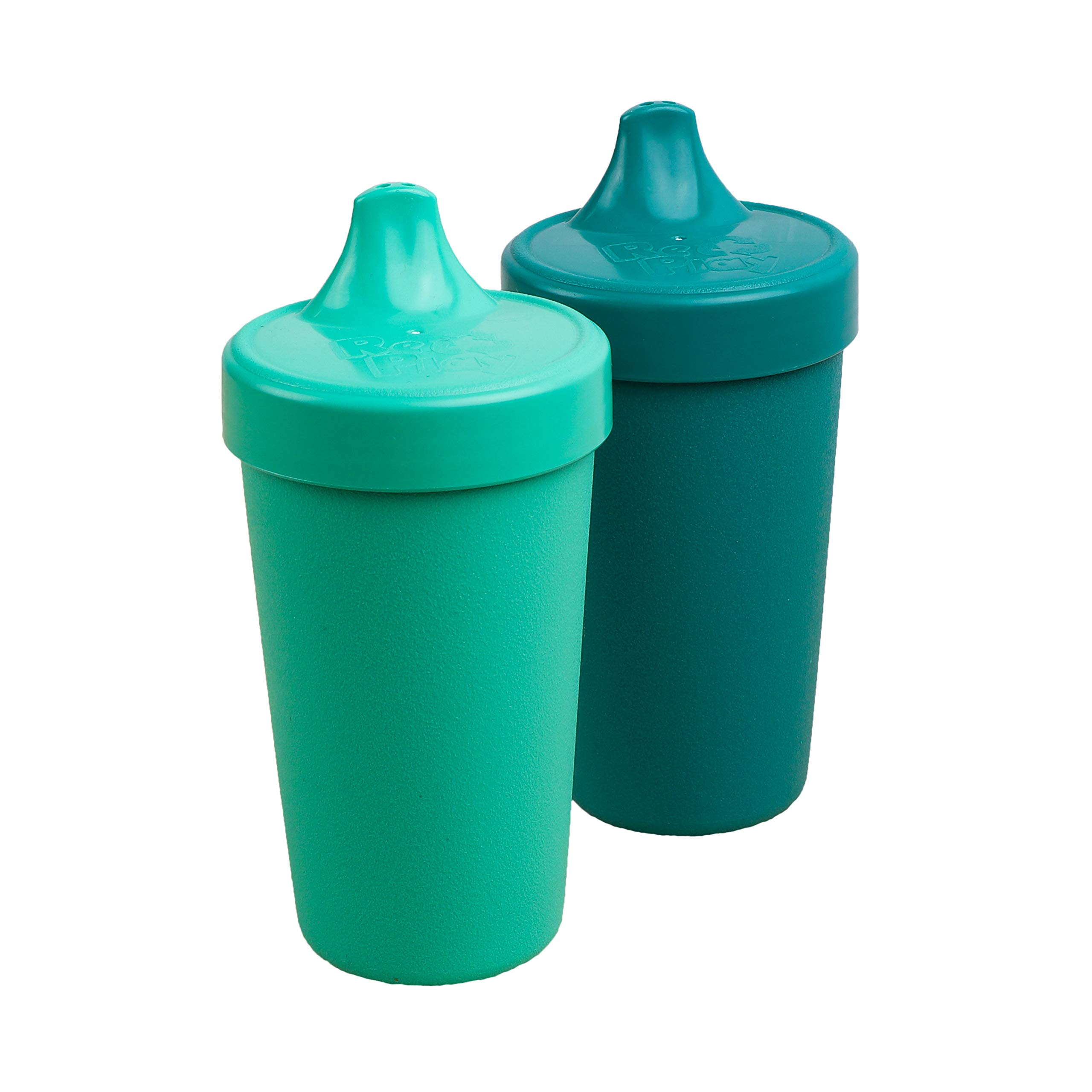 Re-Play Made in USA 2pk Toddler Feeding No Spill Sippy Cups | 1 Piece Silicone Easy Clean Valve | Eco Friendly Heavyweight Recycled Milk Jugs are Virtually Indestructible | Aqua/Teal