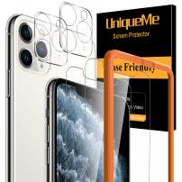 UniqueMe 2 Pack Screen Protector +2 Pack Camera Lens Protector for iPhone 11 Pro Max(6.5 inch) [Easy Install Frame] Tempered Glass, Case-Friendly No-Bubble High Definition-Clear