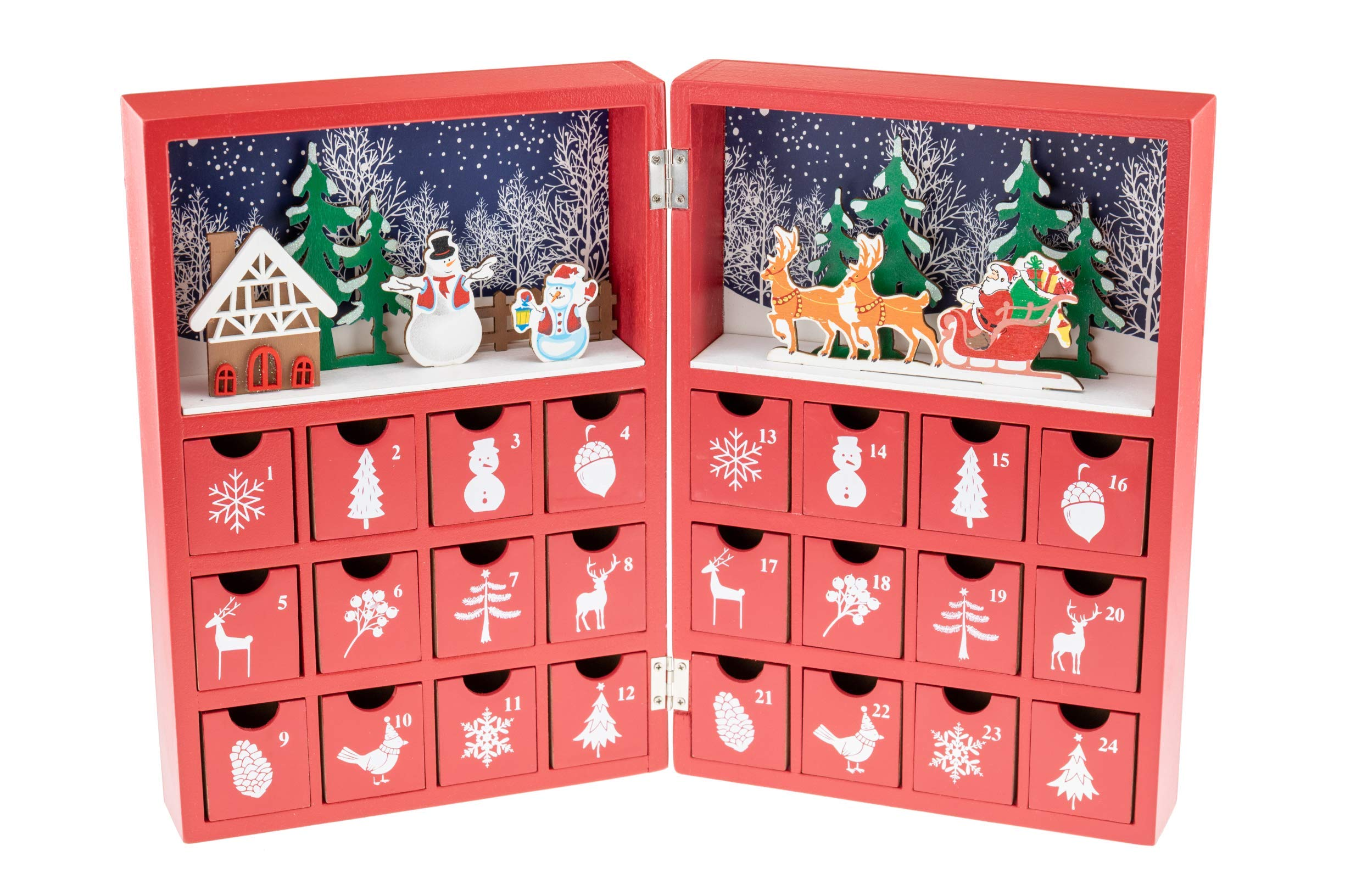Clever Creations Christmas Book Advent Calendar - Colorful Christmas Scene with Santa - Premium Christmas Decor - Cute Holiday Decorations - Solid Wood Construction - 8.25 in x 3.5 in x 12 in