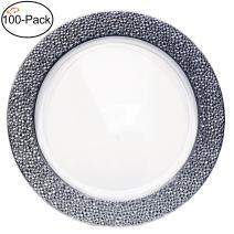 Tiger Chef Plastic Charger Plates Round Silver Disposable Wedding Chargers for Parties and Special Events - 100-Pack Clear with Silver Hammered Rim 13 inch (100, Clear with Silver Hammered Rim)