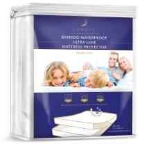 LUNAVY Premium Bamboo Waterproof Mattress Protector - Machine Washable Pad (Queen Size)