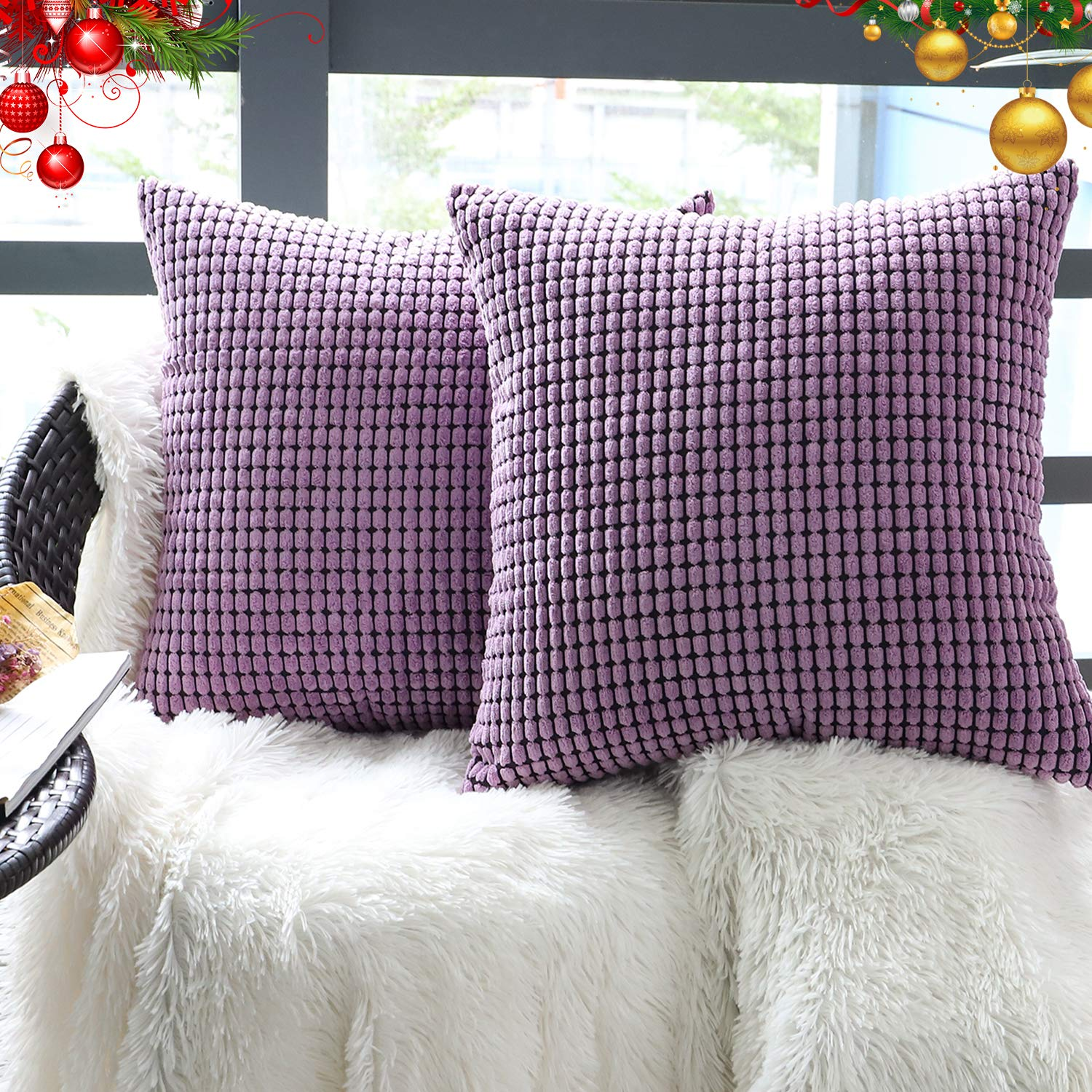 """Set of 2,Soft Accent Throw Pillow Cover 22"""" x 22"""" (No Insert),Decorative Cozy Corduroy Square Pattern Zipper Pillow Case Cover,Velvet Large Cushion Cover for Couch/Sofa/Bedroom,Lavender Purple"""