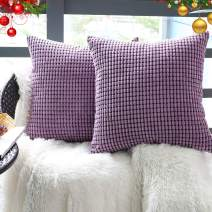 "Set of 2,Decorative Throw Pillow Covers 16"" x 16"" (No Insert),Solid Cozy Corduroy Corn Accent Square Pillow Case Sham,Soft Velvet Cushion Cover with Hidden Zipper for Couch/Sofa/Bed,Lavender Purple"