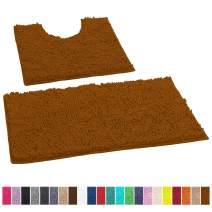 LuxUrux Bathroom Rugs Luxury Chenille 2-Piece Bath Mat Set, Soft Plush Anti-Slip Bath Rug +Toilet Mat.1'' Microfiber Shaggy Carpet, Super Absorbent Machine Washable Bath Mats (Curved Set, Pumpkin)