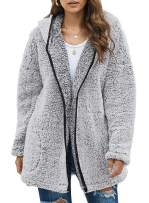 Sidefeel Women Open Front Hooded Cardigan Fleece Pocket Coat Outwear