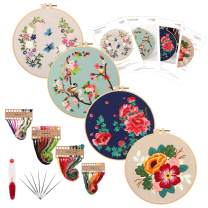 Embroidery Kit for Beginners,4 Pack Cross Stitch Kits, 2 Wooden Embroidery Hoops,Scissors,Needles and Color Threads,Needlepoint Kit for Adult