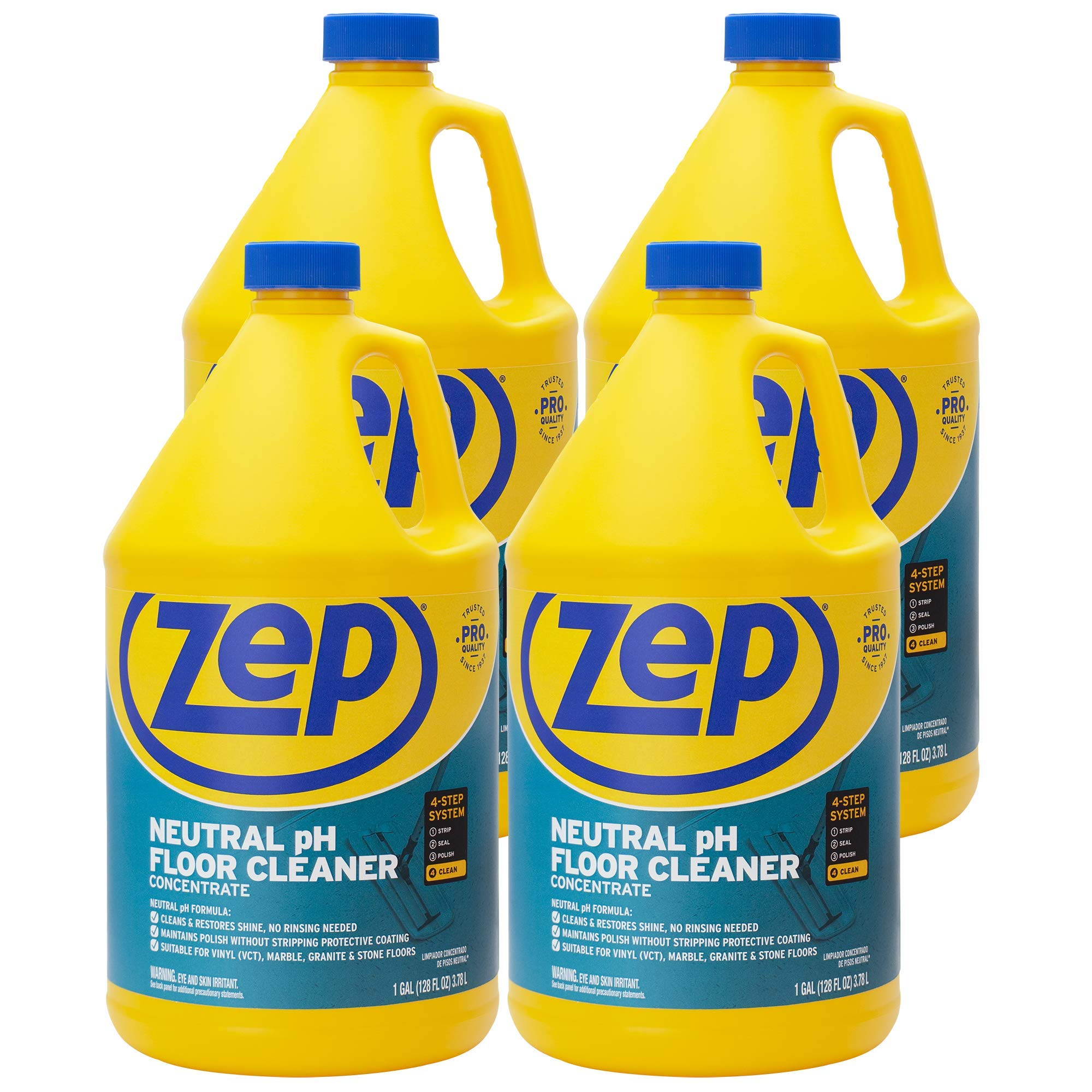 Zep Neutral pH Floor Cleaner 1 Gallon (Case of 4) ZUNEUT128 - Pro Trusted All-Purpose Floor Cleaner